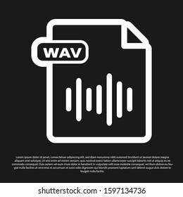 Black WAV file document. Download wav button icon isolated on black background. WAV waveform audio file format for digital audio riff files.