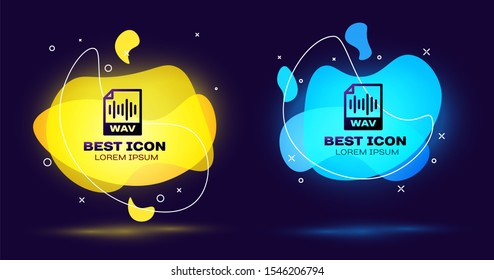 Black WAV file document icon. Download wav button icon isolated. WAV waveform audio file format for digital audio riff files. Set of liquid color abstract geometric shapes