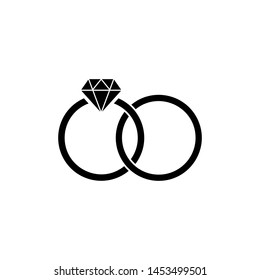 Black Wedding rings icon isolated on white background. Bride and groom jewelery sign. Marriage icon. Diamond ring