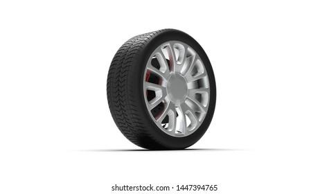 Black Wheel isolated on white 3D Rendering