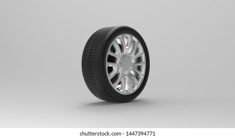 Black Wheel isolated on white 3D Rendering