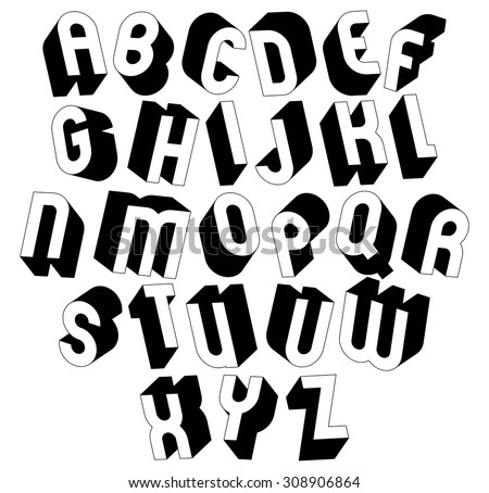 Black White 3 D Font Single Color Stockillustratie 308906864