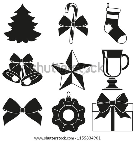 black and white 9 new year elements silhouette set xmas holiday decorations illustration for
