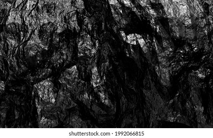 Black and white abstract background, creative black stone texture for design. 3d render