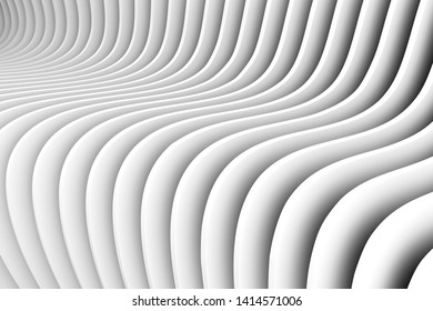 black and white abstract background with ine and wave 3D illustration