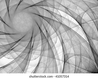 Black and white abstract background made of curved lines converging to a circle