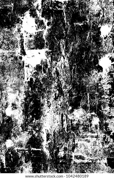 Black and white abstract background. Monochrome texture of dots, cracks, dust, stain. Pattern for printing and design