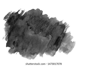black and white abstract brush strokes.Watercolor blot.Handmade picture