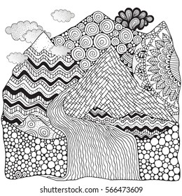 Black and white abstract fantasy picture. Mountains, sun and river. Pattern for coloring book. Hand-drawn, ethnic, doodle, zentangle, tribal design elements.  Zen art.
