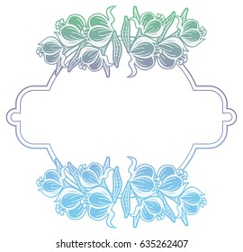 Black and white abstract frame. with decorative flowers. Copy space. Raster clip art.