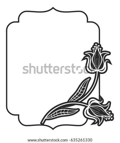 Black White Abstract Frame Decorative Flowers Stock Illustration