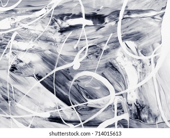 Black and white abstract hand painted background, close-up of acrylic painting on canvas. Contemporary art.