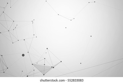 Black and White Abstract Polygonal Background with Low Poly Connecting Dots and Lines - Futuristic HUD Background