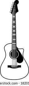 Black and White Acoustic Guitar Illustration