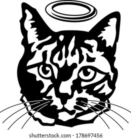 Black and White Angel Tabby Cat Head wearing Halo Illustration