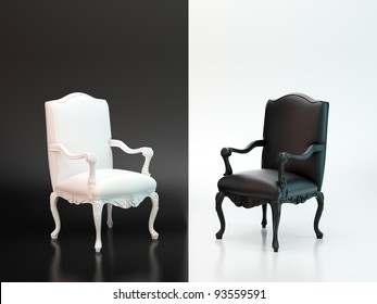 Black and white antique chairs