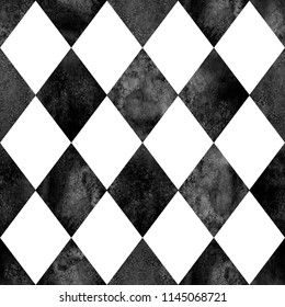 Black and white argyle seamless plaid pattern. Watercolor hand drawn texture background. Watercolour rhombus shapes background. Print for cloth design, textile, fabric, wallpaper, wrapping, tile.