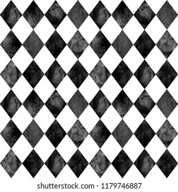 Black and white argyle seamless plaid pattern. Watercolour hand drawn texture background. Rhombus shapes textured background. Print for cloth design, textile, fabric, wallpaper, wrapping, tile.