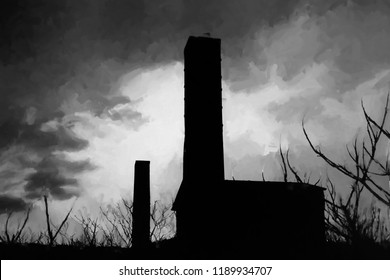 A black and white artistic version of a digital image of an old abandoned industrial building in Southern Ontario.