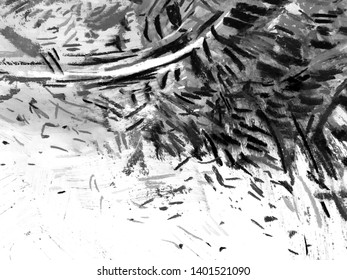 Black and white background with hand drawn black abstract shape on white background. Black paint texture with grunge artwork background paper for banner template, poster design back, artificial flyer.