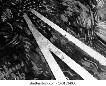 Black and white background with hand drawn black abstract shapes on white background. Black paint texture with grunge artwork background paper. Artistic image with line art, grunge spots.
