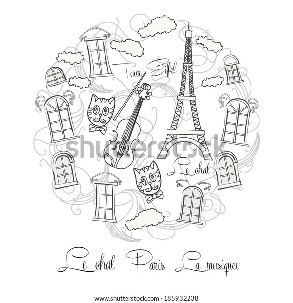 Black and white background with music and Tour Eiffel. Raster Illustration
