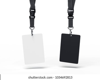Black and white badges hanging on dark ribbons. 3d rendering
