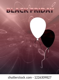 """black and white balloons and the text """"Black Friday"""". 3d rendering"""