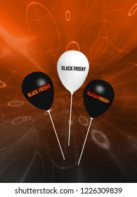 """black and white balloons with the text """"Black Friday"""". 3d rendering"""