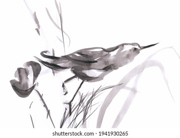 Black and white bird and flower ink wash illustration