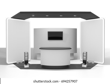 Black and white booth mock-up template. 3D rendering