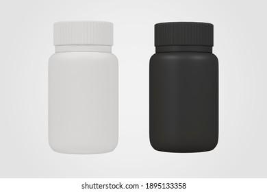 black and white bottle isolate, 3d rendering