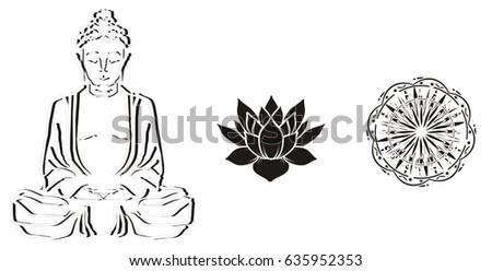 Black And White Buddha With Lotus Mandala