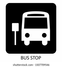 A black and white Bus Stop icon illustration