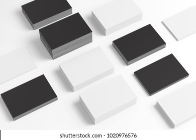 Black and white business cards in checkerboard order isolated on white. 3d illustration to showcase your presentation.