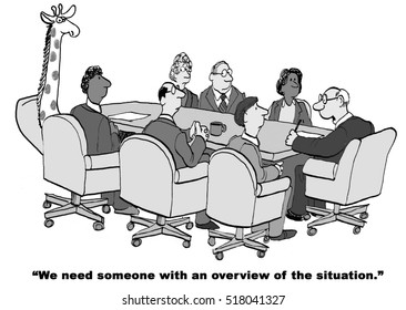 Black and white business cartoon about a boss wanting an overview of the situation.