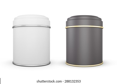 Black and white cans of tea isolated on white background. Template cans for your design. 3d illustration.