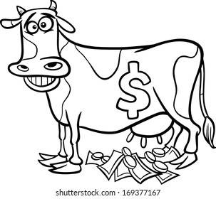 Black and White Cartoon Concept Illustration of Cash Cow Saying for Coloring Book
