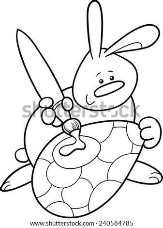 Black White Cartoon Illustration Cute Easter Stock Illustration