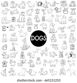 Black and White Cartoon Illustration of Dogs Pet Animal Characters Large Set
