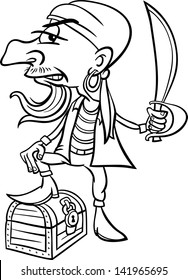 Black and White Cartoon Illustration of Funny Pirate or Corsair with Sword and Treasure for Coloring Book for Children