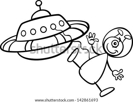Black White Cartoon Illustration Funny Alien Stock Illustration