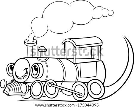 Black White Cartoon Illustration Funny Steam Stock Illustration