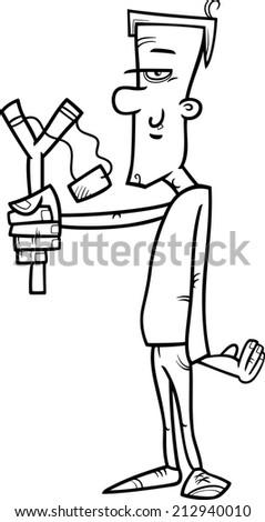 black white cartoon illustration hooligan rascal stock illustration