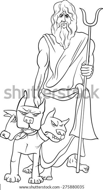hades symbol coloring pages | Black White Cartoon Illustration Mythological Greek Stock ...