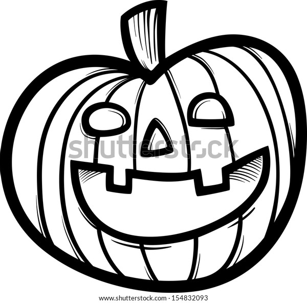 Black and White Cartoon Illustration of Spooky Halloween Pumpkin Clip Art for Coloring Book
