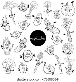 Black and White Cartoon Illustration of Vegetables Comic Food Characters Big Set Color Book