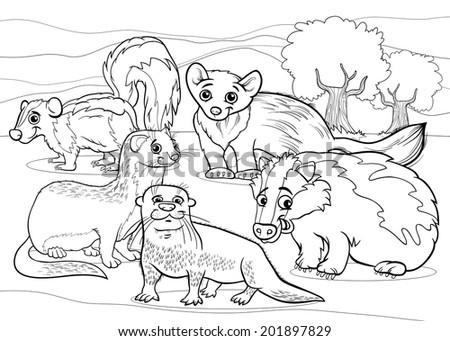 Black And White Cartoon Animals