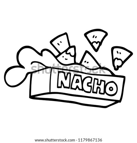 Black White Cartoon Nacho Box Stock Illustration 1179867136
