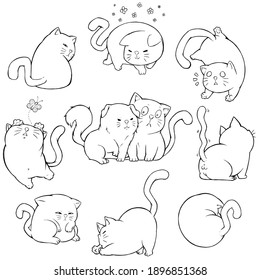 Black and White Cat Collection Cartoon Hand draw